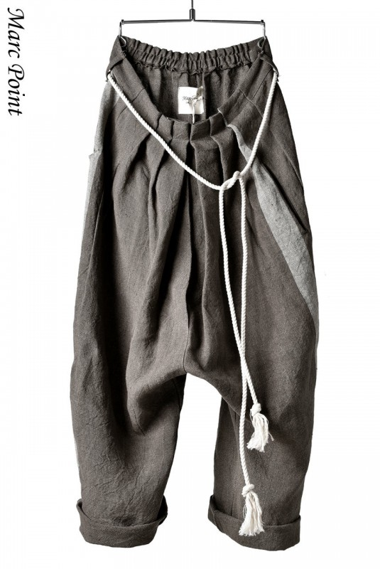 Marc Point Wide Tuck Trousers with Rope Code