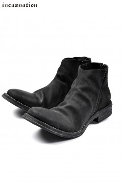 incarnation exclusive HORSE BUTT LEATHER BACK ZIP SHORT BOOTS / ROUGH-OUT