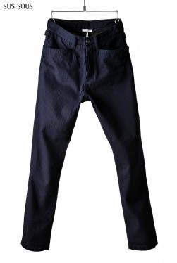 sus-sous indigo horseman slim trousers with zukku