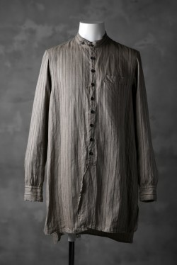KLASICA STRIPED HERRINGBONE LINEN SHIRT / GARMENT WASHED