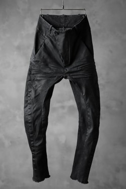 masnada SCAR STITCHED BIAS FRONT BAGGY PANT / COATING DENIM